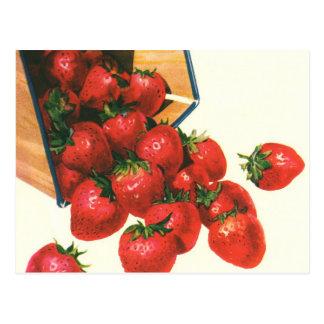 バスケットのヴィンテージのいちご、食糧フルーツの果実 ポストカード