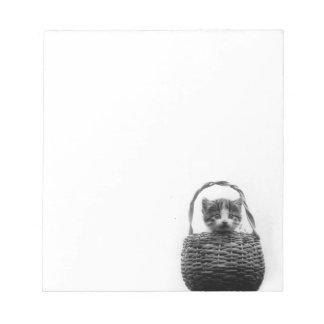 バスケットのヴィンテージの写真のかわいい猫 ノートパッド