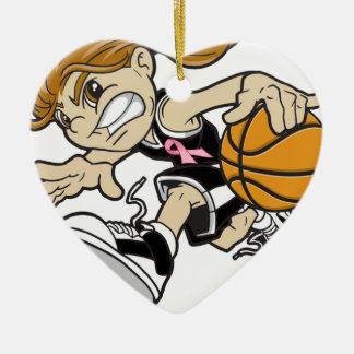 バスケットの女の子のピンクのリボン セラミックオーナメント