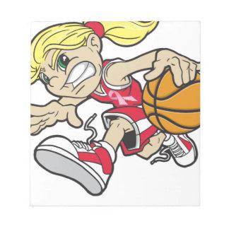 バスケットの女の子のピンクのリボン ノートパッド