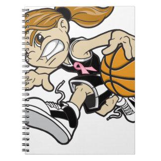 バスケットの女の子のピンクのリボン ノートブック
