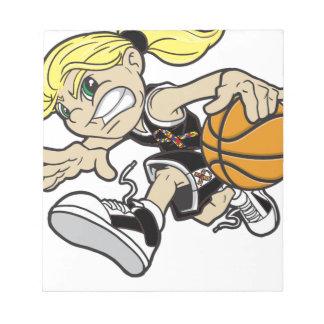 バスケットの女の子の自閉症のリボン ノートパッド