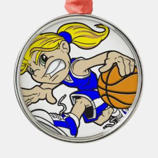 バスケットの女の子の青の文字 メタルオーナメント