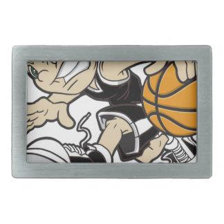 バスケットの女の子 長方形ベルトバックル