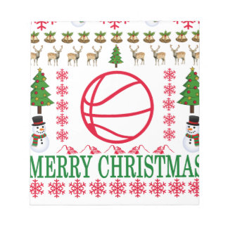 バスケットの球のメリークリスマス。 ノートパッド