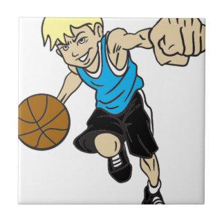 バスケットの男の子のブロンドの女性 タイル