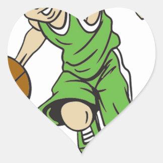 バスケットの男の子のブロンドの女性 ハートシール