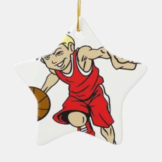 バスケットの男の子の赤の文字 セラミックオーナメント