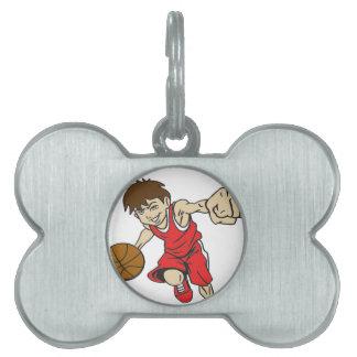 バスケットの男の子の赤の文字 ペットネームタグ