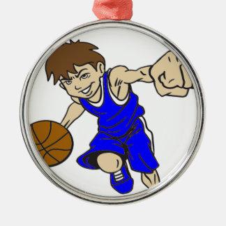 バスケットの男の子の青の文字 メタルオーナメント