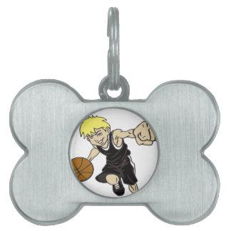 バスケットの男の子 ペットネームタグ