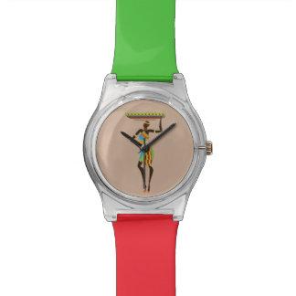 バスケットの種族の芸術のアフリカの女性 腕時計