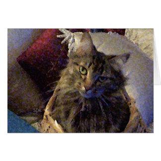 バスケットの美しい虎猫のメインのあらいぐまの子猫猫 カード
