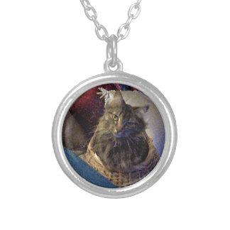 バスケットの美しい虎猫のメインのあらいぐまの子猫猫 シルバープレートネックレス