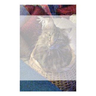 バスケットの美しい虎猫のメインのあらいぐまの子猫猫 便箋