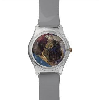 バスケットの美しい虎猫のメインのあらいぐまの子猫猫 腕時計