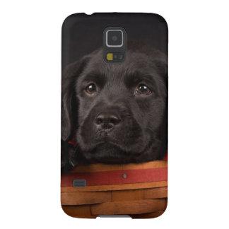 バスケットの黒いラブラドル・レトリーバー犬の子犬 GALAXY S5 ケース