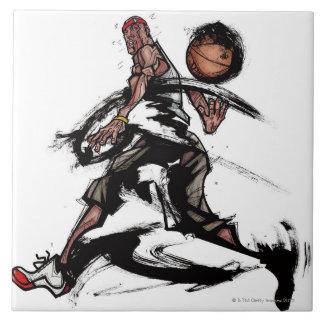 バスケットボールと遊んでいるバスケットボール選手 タイル