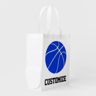 バスケットボールのお母さんの青いバスケットボールのカスタムな文字の食料雑貨 エコバッグ
