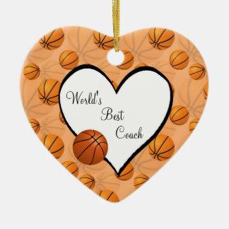 バスケットボールのクリスマスのハートのオーナメント セラミックオーナメント