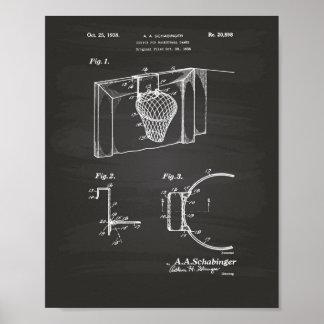 バスケットボールのゴール1938のパテントの芸術の黒板 ポスター