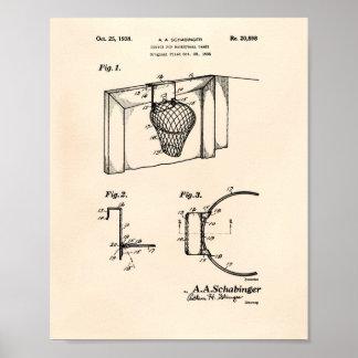 バスケットボールのゴール1938のパテントの芸術古いPeper ポスター