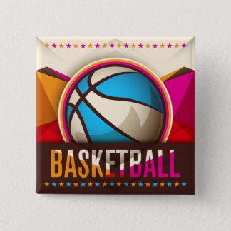 バスケットボールのスポーツの状況のカッコいいの抽象芸術 5.1CM 正方形バッジ