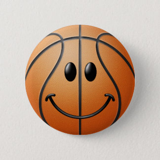 バスケットボールのスマイリーフェイス 缶バッジ