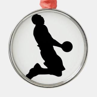 バスケットボールのダンクのシルエット メタルオーナメント