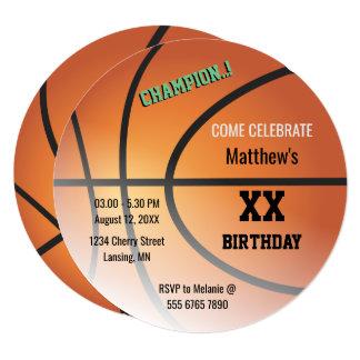 バスケットボールのチャンピオンのバスケの誕生会 13.3 スクエアインビテーションカード