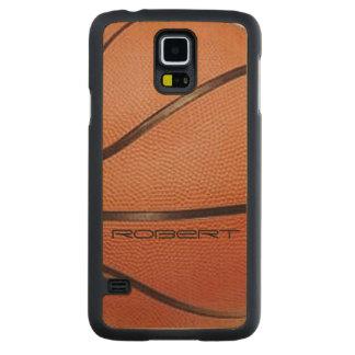 バスケットボールのデザインの電話箱 CarvedメープルGalaxy S5スリムケース