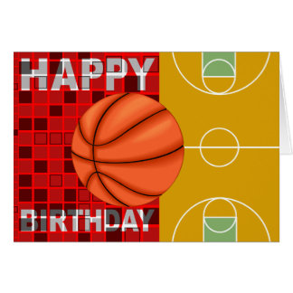 バスケットボールのハッピーバースデーカード ノートカード