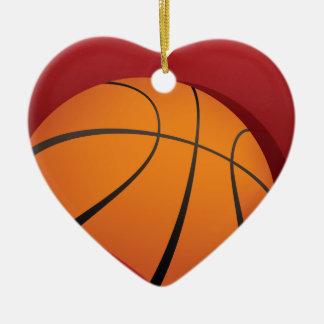 バスケットボールのハートのオーナメント セラミックオーナメント