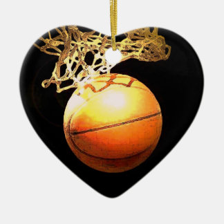 バスケットボールのハートのクリスマスのオーナメント セラミックオーナメント
