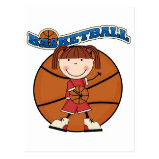 バスケットボールのブルネットの女の子のTシャツおよびギフト ポストカード
