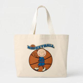 バスケットボールのブルネットの男の子のTシャツおよびギフト ラージトートバッグ