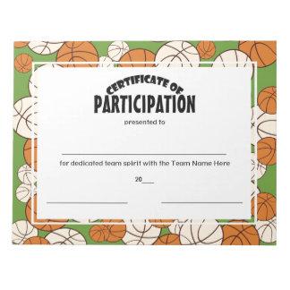 バスケットボールの持歩証明書 ノートパッド