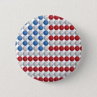 バスケットボールの米国旗 缶バッジ