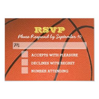 バスケットボールの陸軍少尉の階級章の(ユダヤ教の)バル・ミツバーRSVPカード カード