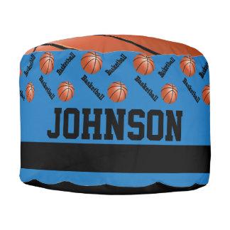 バスケットボールの青いスポーツパターン ラウンドクッション