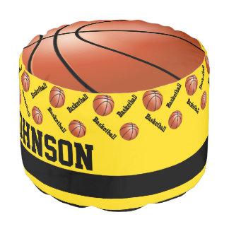 バスケットボールの黄色いスポーツパターン ラウンドクッション