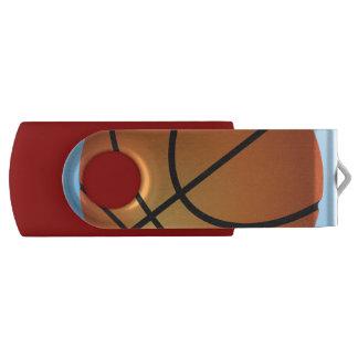 バスケットボールアイコン青の背景 USBフラッシュドライブ