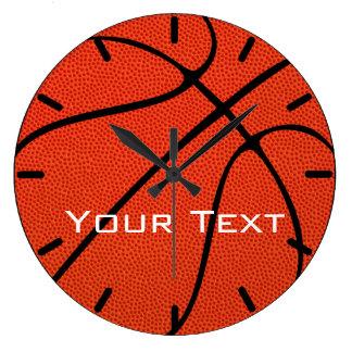バスケットボールチームカスタムな文字の柱時計 ラージ壁時計