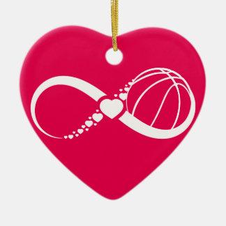バスケットボール愛無限ハートのオーナメント セラミックオーナメント