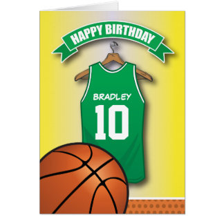 バスケットボール赤いジャージーはカスタムな誕生日を遊ばします カード