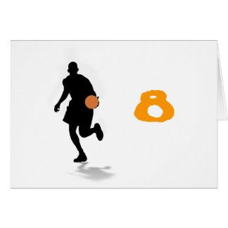 バスケットボール選手のテーブルのテントのテンプレート カード