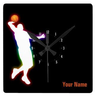 バスケットボール選手|のスポーツのギフト スクエア壁時計