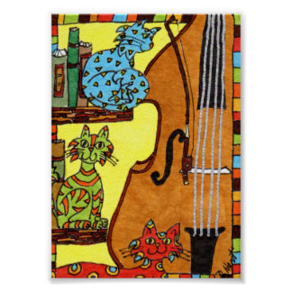 バスバイオリンの小型民芸の3匹の猫 ポスター