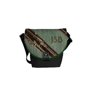 バスーンは緑の板の習慣のモノグラムを区分します メッセンジャーバッグ