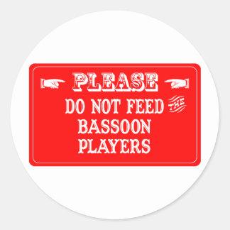 バスーンプレーヤーを食べ物を与えないで下さい ラウンドシール